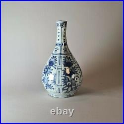 Chinese kraak blue and white bottle vase, Wanli (1573-1619)