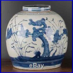 Chinese oriental porcelain GINGER JAR 12 tree of life blue & white