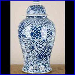 Chinese oriental porcelain GINGER JAR blue & white phoenix tall lidded 20