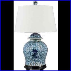 Chinese oriental porcelain GINGER JAR lamp blue & white Chinese happiness lamp
