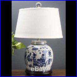 Chinese oriental porcelain GINGER JAR lamp blue & white oriental motif 24