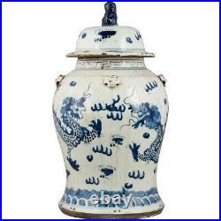 Chinese oriental porcelain blue & white DRAGON MOTIF GINGER JAR FOO DOG FINIAL