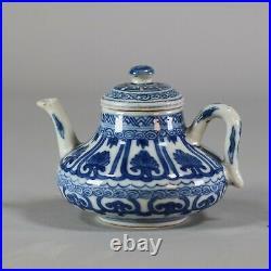 Chinese soft paste blue and white miniature teapot, Kangxi (1662-1722)