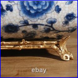 Chinoiserie Antique style blue and white porcelain tissue box