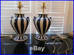 Chinoiserie Lamps (Pair) NEW Navy Blue & White Porcelain Striped Urn