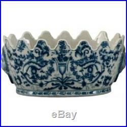 Classic Blue & White Porcelain Scalloped Planter Pot 9L x 4.5H