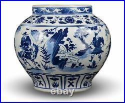 Classic Blue and White Yuan Porcelain Vase, Gui Guzi Descends the Mountain, C