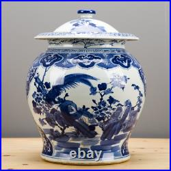 Classic Chinese Blue And White Porcelain Oriental Bird Lidded Ginger Jar 18