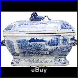Classic Chinese Blue And White Porcelain Oriental Blue Willow Soup Tureen