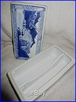 Covered Antique Chinese Porcelain Qianlong Mark Blue White Landscape