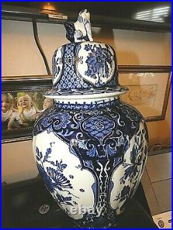 Delft Large 16 Blue & White Royal Sphinx Ginger Jar Urn Vase Foo Dog Finial