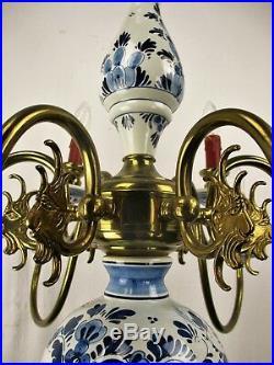Double Delft Blue White Porcelain Brass Chandelier Dutch 12 Arms Light Romantic