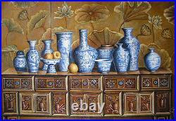 Dream-art oil painting still life Chinese blue and white porcelain vases & table