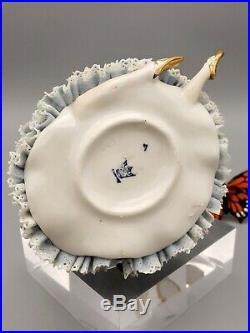 Dresden Lace Ballerina Figurine Porcelain Germany Blue Crown R Hallmark
