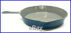 ERIE #10 A Cast Iron Skillet with Heat Ring #715 Blue/White Porcelain