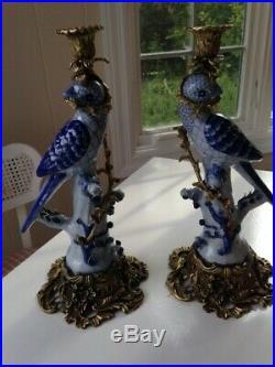 Elegant Candlesticks- Blue & White Porcelain Birds with Ornate Brass/Bronze Base