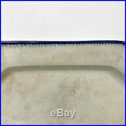 English 1820's English Blue & White Leeds Porcelain Feather Edge Platter #2