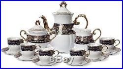Euro Porcelain 17-pc Coffee/Tea Set for 6 Luxury Dinnerware Service with 24K Gold