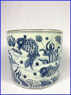 Exquisite Chinese Handmade Blue & White Porcelain Bowl Antique Fish Design