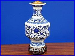 Exquisite Pair Of 30 Tall Chinese Blue & White Porcelain Vase Lamps
