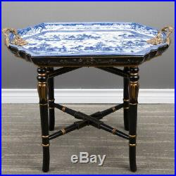 Fabulous Blue & White Porcelain Blue Willow Tray Table On Black Gold Wood Stand