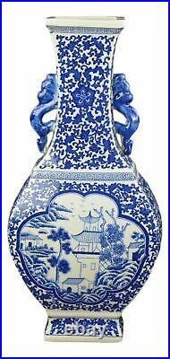 Festcool 17 Classic Blue and White Porcelain Vase, Landscape Ceramic China Q