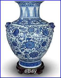 Festcool 18 Classic Blue and White Floral Porcelain Vase, Double Lion Head Ears