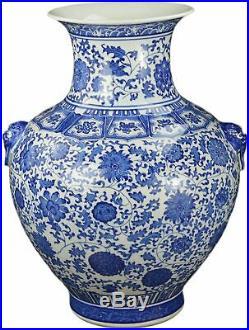 Festcool 21 Large Classic Blue and White Floral Porcelain Vase, Double Lion Hea