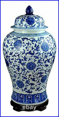 Festcool 24 Classic Blue and White Floral Porcelain Ceramic Temple Ginger Ja