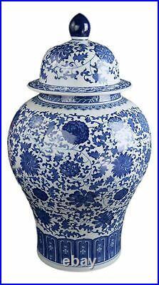 Festcool Classic Blue and White Floral Porcelain Ceramic Temple Ginger Jar Va