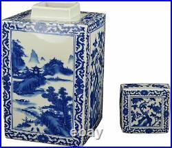 Festcool Classic Blue and White Porcelain Square Jar Vase, Flower and Landscape