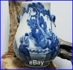 Fine Chinese Blue And White Double Ears Porcelain Vase