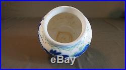 Fine Early 1900 Korean Floral Pattern Blue, Green & White Porcelain Vase Jar