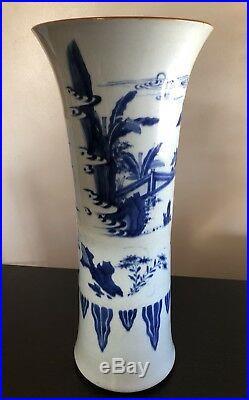 Fine Huge Antique Chinese Blue White Porcelain Gu Trumpet Vase Art Figures Wow