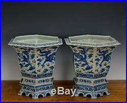 Fine Pair of Large Chinese Blue White Dragon 6 Side Porcelain Flower Pot