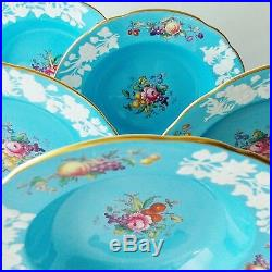 Five Gorgeous Spode Copelands China Blue White Embossed Bowls HP Fruits Flowers