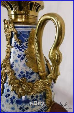 French Bronze Mounted Pair of Blue & White Porcelain Casslette Lamps with Swans