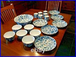 Golden Rabbit Lot 19 Pc Blue White Swirl Splatter Metal Bowls Cups Enamel Ware