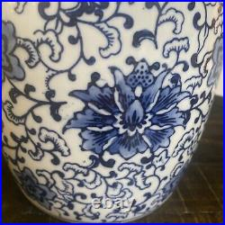 Gorgeous 10 Chinese Blue & White Large GINGER JAR Porcelain By Three Hands Corp