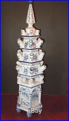 Gorgeous Vintage Tulipiere Porcelain Pagoda Tulip Vase 6 Sides, Blue & White 25