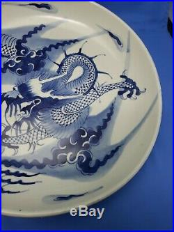 Great Chinese Blue White Large Flying Dragon Porcelain Plate