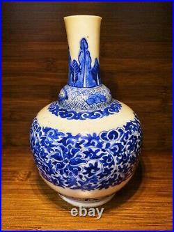 Guangxu Chinese Antique Porcelain Blue And White Flower Vase 19th Centuries