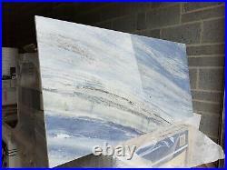HD Ultra gloss 60x120 surreal blue white surf wave porcelain tiles 6 pieces