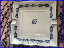HERMES Paris Authentic Cigar Ashtray Porcelain Chaine D'Ancre White Blue Tone
