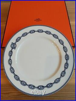 HERMES Paris Round Plate Tray Chaine D'Ancre Porcelain White Blue Tone with Box