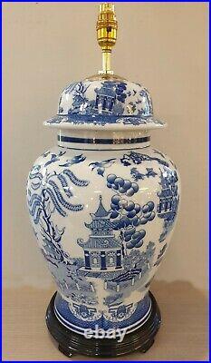 Hand Painted Blue & White Oriental Porcelain Temple Jar Table Lamp