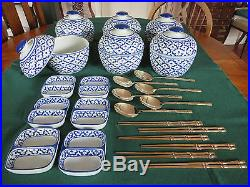 Handpainted Thai Blue White Noodles/curry Bowls+sauce Dish+ Solid Bronze Cutlery