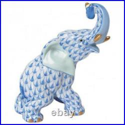Herend Elephant Trunk Up 24k Gold Tusks Blue Fishnet #vhb-15266 Brand Nib F/sh