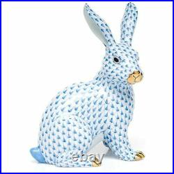 Herend Large Sitting Bunny Rabbit Porcelain Figurine Blue Fishnet
