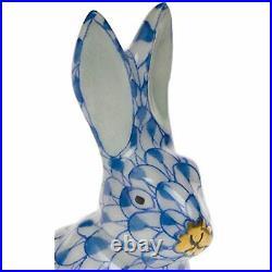 Herend Mini Bunny Rabbit Sitting Porcelain Figurine Blue Fishnet